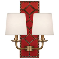 Robert Abbey 351 Williamsburg Lightfoot 2 Light 14 inch Dragons Blood Leather and Aged Brass Wall Sconce Wall Light