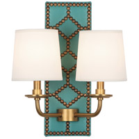 Robert Abbey 353 Williamsburg Lightfoot 2 Light 14 inch Mayo Teal Leather and Aged Brass Wall Sconce Wall Light