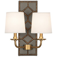 Robert Abbey 354 Williamsburg Lightfoot 2 Light 14 inch Carter Gray Leather and Aged Brass Wall Sconce Wall Light