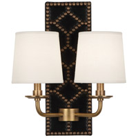 Robert Abbey 355 Williamsburg Lightfoot 2 Light 14 inch Blacksmith Black Leather and Aged Brass Wall Sconce Wall Light
