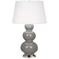 Robert Abbey 359X Triple Gourd 33 inch 150 watt Smoky Taupe Table Lamp Portable Light in Antique Silver