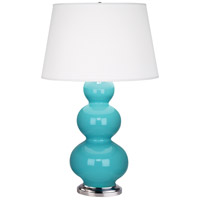 Robert Abbey 362X Triple Gourd 33 inch 150 watt Egg Blue Table Lamp Portable Light in Antique Silver