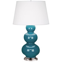 Robert Abbey 363X Triple Gourd 33 inch 150 watt Peacock Table Lamp Portable Light in Antique Silver