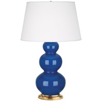 Robert Abbey 366X Triple Gourd 33 inch 150 watt Marine Table Lamp Portable Light in Antique Brass Marine Blue