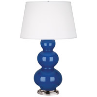 Robert Abbey 368X Triple Gourd 33 inch 150 watt Marine Blue Table Lamp Portable Light in Antique Silver