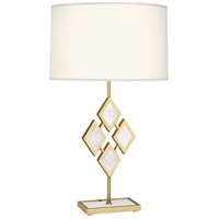 Edward 29 inch 150 watt Modern Brass Table Lamp Portable Light in Fondine Fabric, White Marble Accents