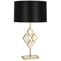 Edward 29 inch 150 watt Modern Brass Table Lamp Portable Light in Black Parchment, White Marble Accents