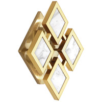 Edward 2 Light 8 inch Modern Brass Wall Sconce Wall Light, White Marble Accents