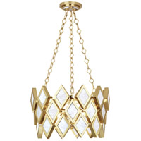 Edward 3 Light 18 inch Modern Brass Pendant Ceiling Light, White Marble Accents