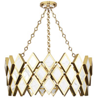 Edward 4 Light 26 inch Modern Brass with White Marble Chandelier Ceiling Light