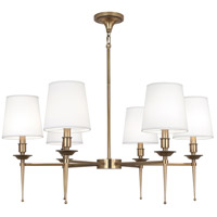 Robert Abbey 390 Cedric 6 Light 34 inch Warm Brass Chandelier Ceiling Light thumb