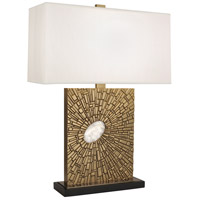Robert Abbey 415 Goliath 27 inch 100 watt Antiqued Modern Brass with White Rock Crystal Table Lamp Portable Light