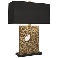 Robert Abbey 415B Goliath 27 inch 100 watt Antiqued Modern Brass with White Rock Crystal Table Lamp Portable Light