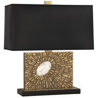 Robert Abbey 416B Goliath 20 inch 100 watt Antiqued Modern Brass with White Rock Crystal Table Lamp Portable Light