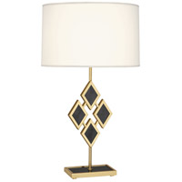 Edward 29 inch 150 watt Modern Brass Table Lamp Portable Light in Fondine Fabric, Black Marble Accents