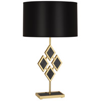 Edward 29 inch 150 watt Modern Brass Table Lamp Portable Light in Black Parchment, Black Marble Accents