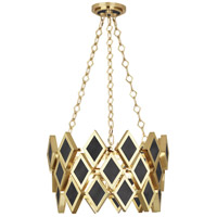 Edward 3 Light 18 inch Modern Brass Pendant Ceiling Light, Black Marble Accents