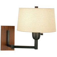 Wonton 18 inch 100 watt Deep Patina Bronze w/ Cherry Wood Swing Lamp Wall Light in Light Beige Linen