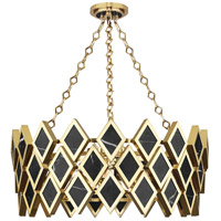 Edward 4 Light 26 inch Modern Brass and Black Marble Chandelier Ceiling Light