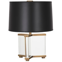 Robert Abbey 470B Fineas 16 inch 60 watt Clear Crystal with Aged Brass Accent Lamp Portable Light in Black Paper