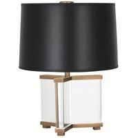 Robert Abbey 470B Fineas 16 inch 60 watt Aged Brass Table Lamp Portable Light in Black Opaque Parchment