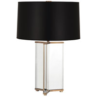 Robert Abbey 471B Fineas 28 inch 150 watt Clear Crystal with Aged Brass Table Lamp Portable Light in Black With White