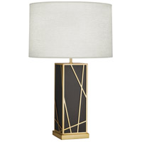 Michael Berman Bond 30 inch 150 watt Deep Patina Bronze with Modern Brass Table Lamp Portable Light in Oyster Linen