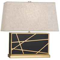 Robert Abbey 532 Michael Berman Bond 20 inch 150 watt Deep Patina Bronze with Modern Brass Table Lamp Portable Light in Bisque Linen