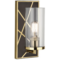Robert Abbey 533 Michael Berman Bond 1 Light 6 inch Deep Patina Bronze with Modern Brass Wall Sconce Wall Light in Clear Glass
