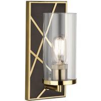 Robert Abbey 533 Michael Berman Bond 1 Light 6 inch Deep Patina Bronze with Modern Brass Wall Sconce Wall Light in Clear Glass