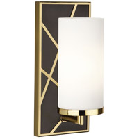 Robert Abbey 533W Michael Berman Bond 1 Light 6 inch Deep Patina Bronze with Modern Brass Wall Sconce Wall Light in Frosted Cased White Glass