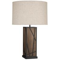 Robert Abbey 540 Michael Berman Bond 30 inch 150 watt Smoked Walnut Wood with Deep Patina Bronze Table Lamp Portable Light in Bisque Linen