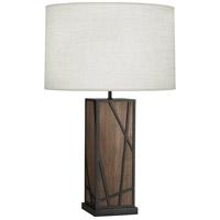 Robert Abbey 540W Michael Berman Bond 30 inch 150 watt Smoked Walnut Wood with Deep Patina Bronze Table Lamp Portable Light in Oyster Linen