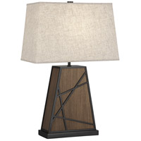 Robert Abbey 541 Michael Berman Bond 25 inch 150 watt Smoked Walnut Wood with Deep Patina Bronze Table Lamp Portable Light in Bisque Linen