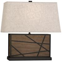 Robert Abbey 542 Michael Berman Bond 20 inch 150 watt Smoked Walnut Wood with Deep Patina Bronze Table Lamp Portable Light in Bisque Linen