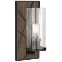 Robert Abbey 543 Michael Berman Bond 1 Light 6 inch Smoked Walnut Wood with Deep Patina Bronze Wall Sconce Wall Light in Clear Glass