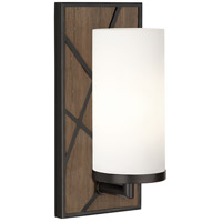 Robert Abbey 543W Michael Berman Bond 1 Light 6 inch Smoked Walnut Wood with Deep Patina Bronze Wall Sconce Wall Light in Frosted Cased White Glass