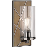 Michael Berman Bond 1 Light 6 inch Driftwood Oak Wood with Blackened Nickel Wall Sconce Wall Light in Clear Glass