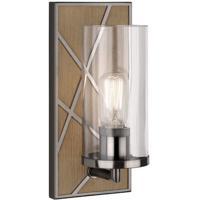 Robert Abbey 553 Michael Berman Bond 1 Light 6 inch Driftwood Oak Wood with Blackened Nickel Wall Sconce Wall Light in Clear Glass