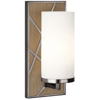 Robert Abbey 553W Michael Berman Bond 1 Light 6 inch Driftwood Oak Wood with Blackened Nickel Wall Sconce Wall Light in Frosted Cased White Glass