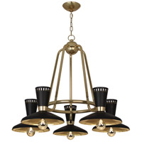 Robert Abbey 568 Vortex 5 Light 15 inch Modern Brass Chandelier Ceiling Light