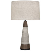 Robert Abbey 571 Michael Berman Berkley 30 inch 150 watt Antique Oyster and Walnut with Deep Patina Bronze Table Lamp Portable Light in Bisque Linen