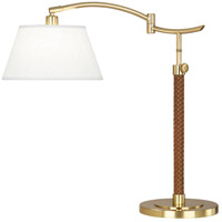 Robert Abbey 581 Kyoto 20 inch 60 watt Modern Brass with Woven Camel Leather Table Lamp Portable Light