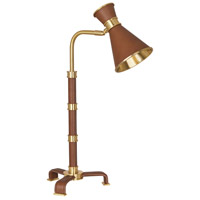 Robert Abbey 590 Jonathan Adler Voltaire 18 inch 60 watt Modern Brass and Saddle Leather Table Lamp Portable Light