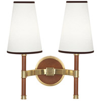 Robert Abbey 593 Jonathan Adler Voltaire 2 Light 16 inch Modern Brass with Saddle Leather Wall Sconce Wall Light