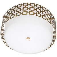 Jonathan Adler Parker 3 Light 15 inch Antique Brass Flush Mount Ceiling Light