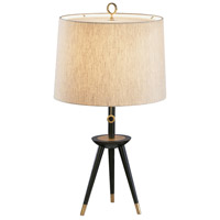 Robert Abbey Ventana 1 Light Table Lamp in Ebony Wood with Bn Accents 670