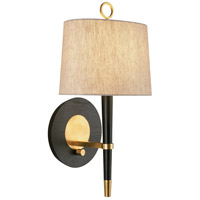 Jonathan Adler Ventana 1 Light 9 inch Ebony Wood w/ Antique Brass Wall Sconce Wall Light