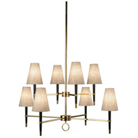 Jonathan Adler Ventana 8 Light 43 inch Ebony Wood w/ Antique Brass Chandelier Ceiling Light