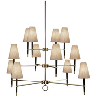 Jonathan Adler Ventana 12 Light 54 inch Ebony Wood w/ Antique Brass Chandelier Ceiling Light